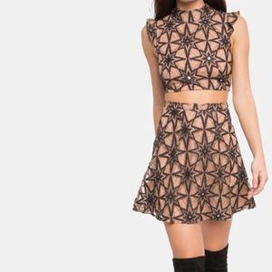 For Love and Lemons Metz Mini Skirt Black Star
